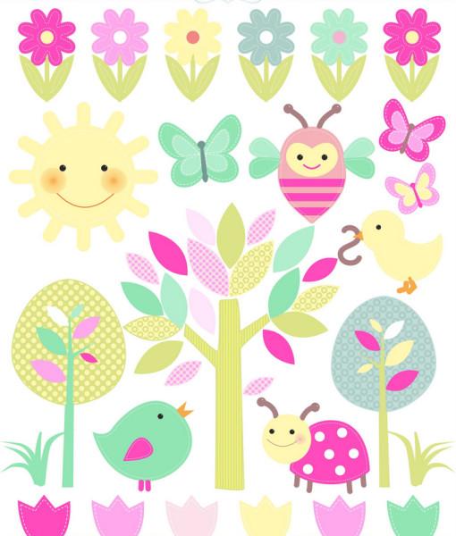 wetterfeste Sticker Frühling